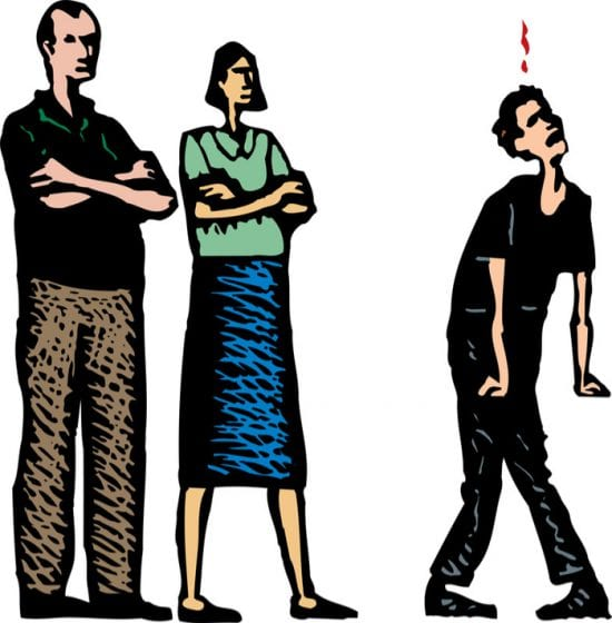 Colorful animation of parents standing firm against annoyed teenage boy