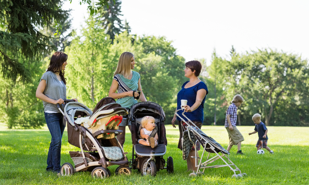 Happy mothers with baby strollers in park