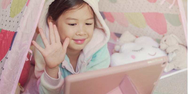 girls have fun on facetime to counter coronavirus isolation