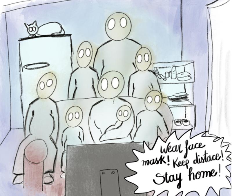 scared family watching coronavirusnews