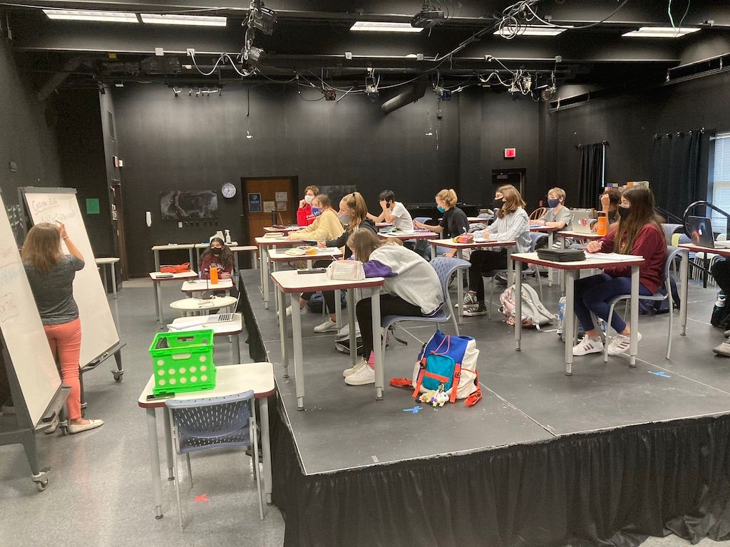 School theatre is repurposed for in-person classroom learning at ISI