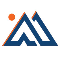 Blue Mountains with Orange Sun Logo Mountain Goat Marketing