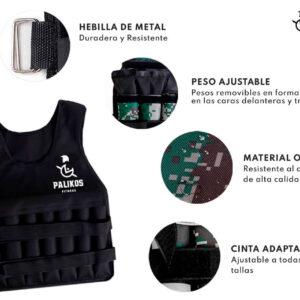 Chaleco con Peso Ajustable – Pálikos Negro (10 kg – 15 kg)