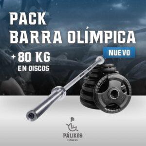 PACK BARRA OLIMPICA 2.2 + 80 KG EN DISCOS