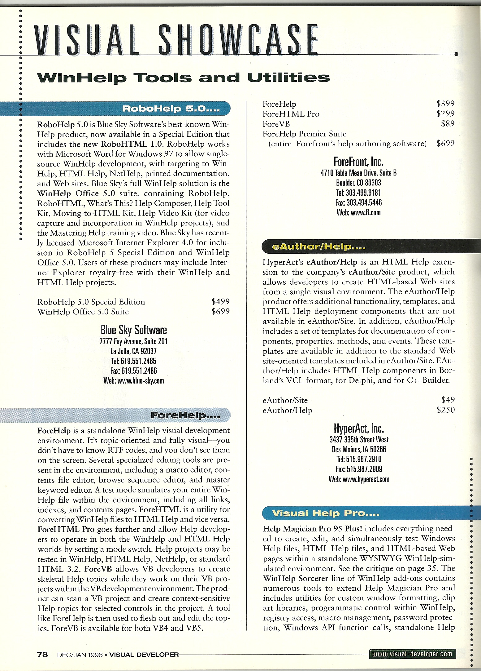 Visual Showcase of Help Authoring Tools, Jan '98, 1 of 2
