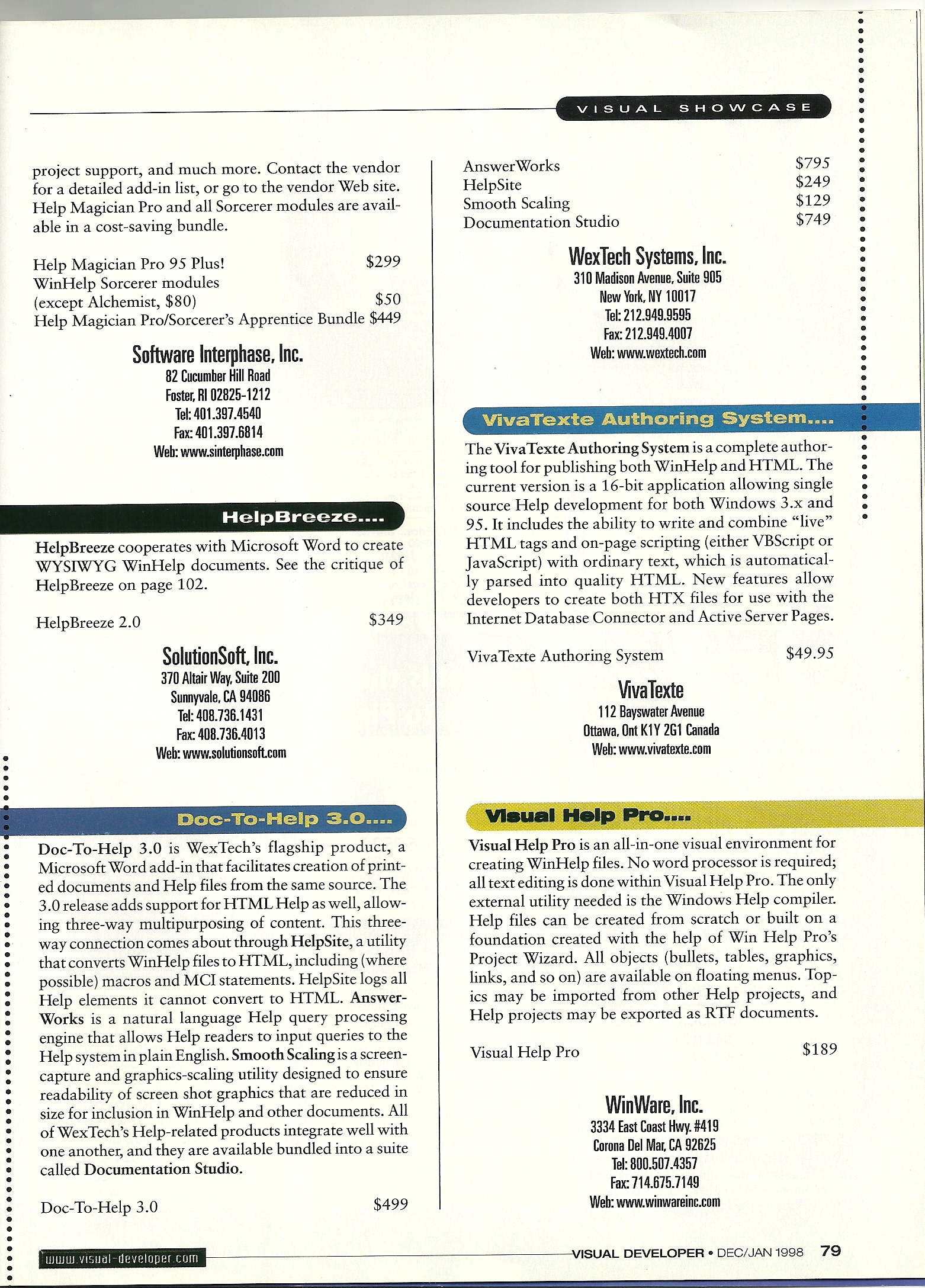 Visual Showcase of Help Authoring Tools, Jan '98, 2 of 2