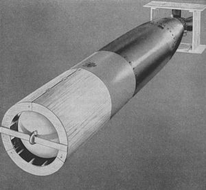 Drawing of a MK 13 torpedo with wooden stabilizers attached to nose and tail
