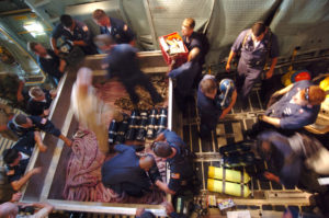 Deep Submergence Unit personnel load equipment aboard a C-5 aircraft, August 2005.
