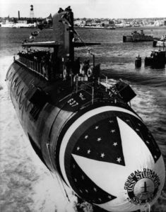 Submarine in water during launch ceremony