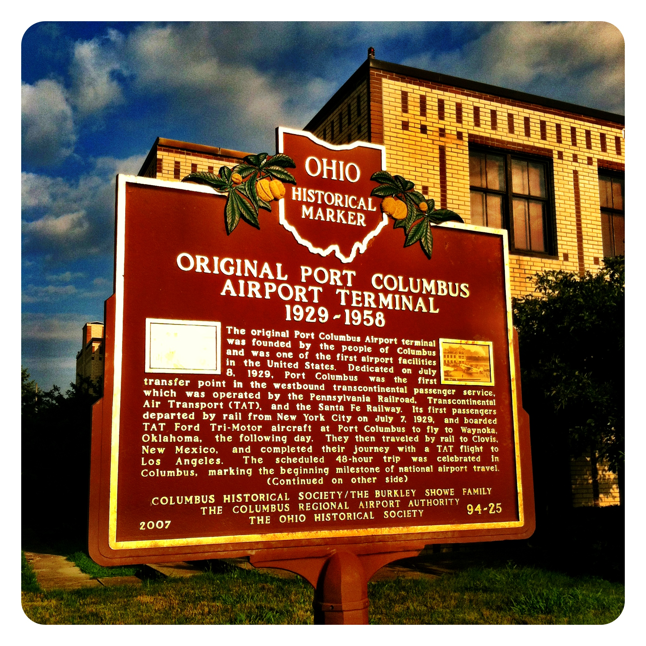 Remarkable Ohio ... Ohio Historical Marker #94-25 Original Port Columbus Terminal