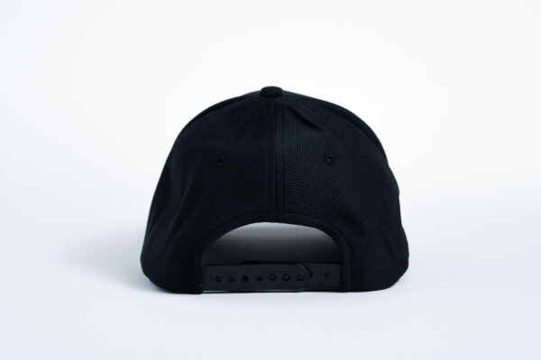Style _ STC50 Sport-Tek® Action Snapback Cap SOLID BLACK ALL WHITE TEXT (4)