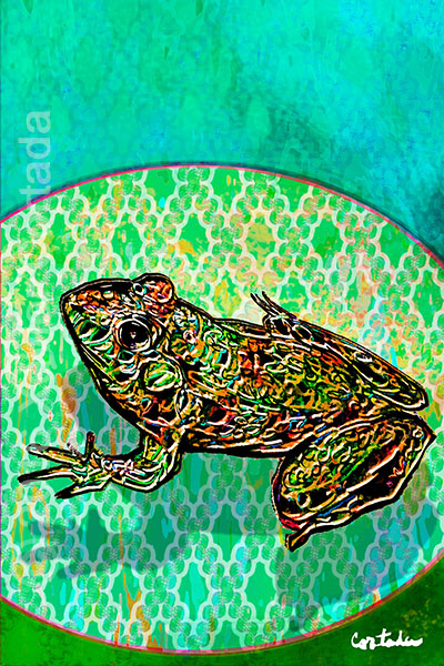 "Xavier Cortada, ""(Florida is…) Florida Bog Frogs,\"" archival ink on aluminum, 60\″ x 40\"", 2016"