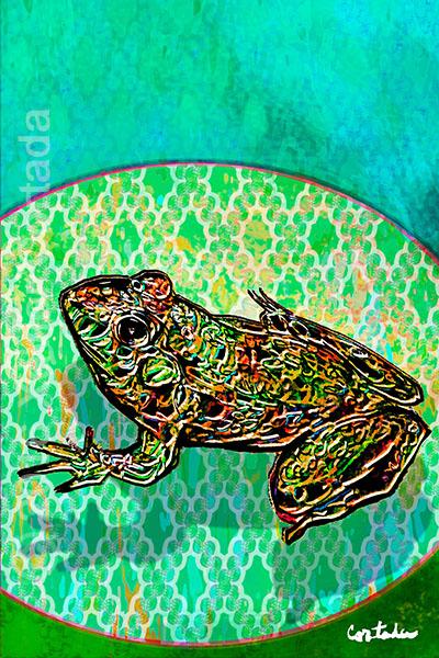 "Xavier Cortada, \""(Florida is…) Florida Bog Frogs,\"" archival ink on aluminum, 60\″ x 40\"", 2016"