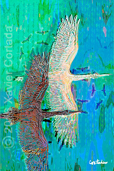 "Xavier Cortada, \""(Florida is…) Wood storks,\"" archival ink on aluminum, 60\″ x 40\"", 2016."