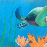 madison_green turtle_18x24_chalk pastel