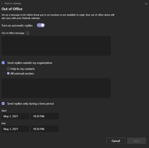 How to set out of office messages in Microsoft Teams