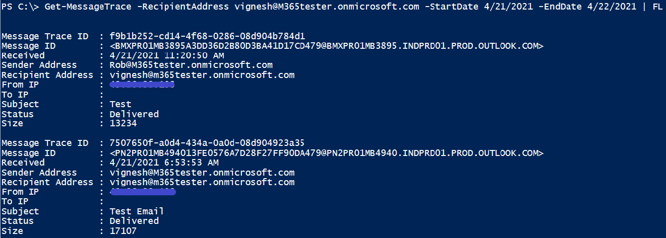 If email are missing in Office 365: Message tracing via Powershell