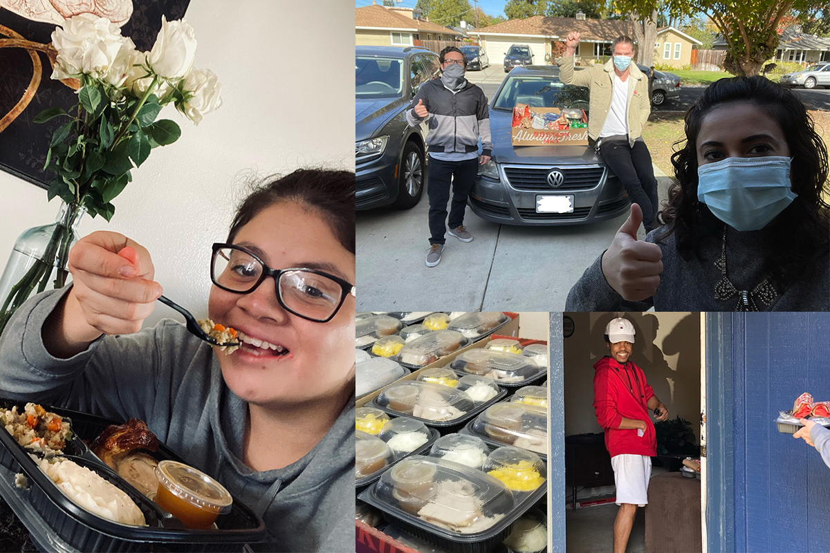 A multi-image collage showing: Packaged dinners of turkey, mashed potatoes, and mac and cheese; a young man opening the door for a delivery of a packaged dinner; First Place staff masked up as they delivery food; and a young woman sitting down to eat.