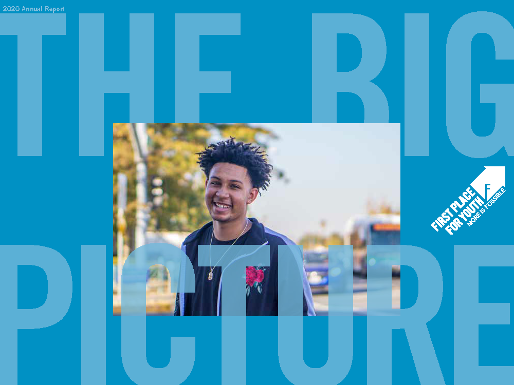"""Image: A photo of a young black is centered in a blue background with text """"The Big Picture"""" and First Place for Youth logo"""