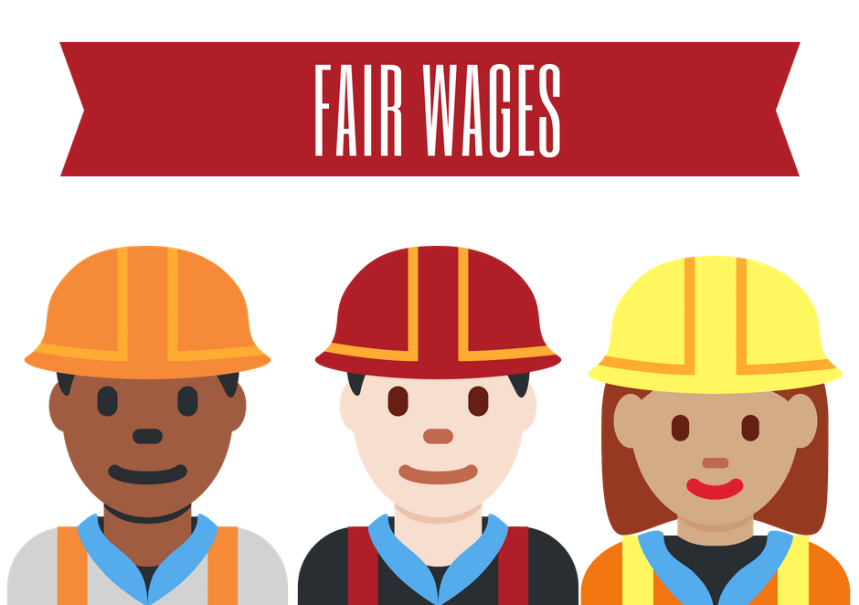 fair wages with diverse group of people