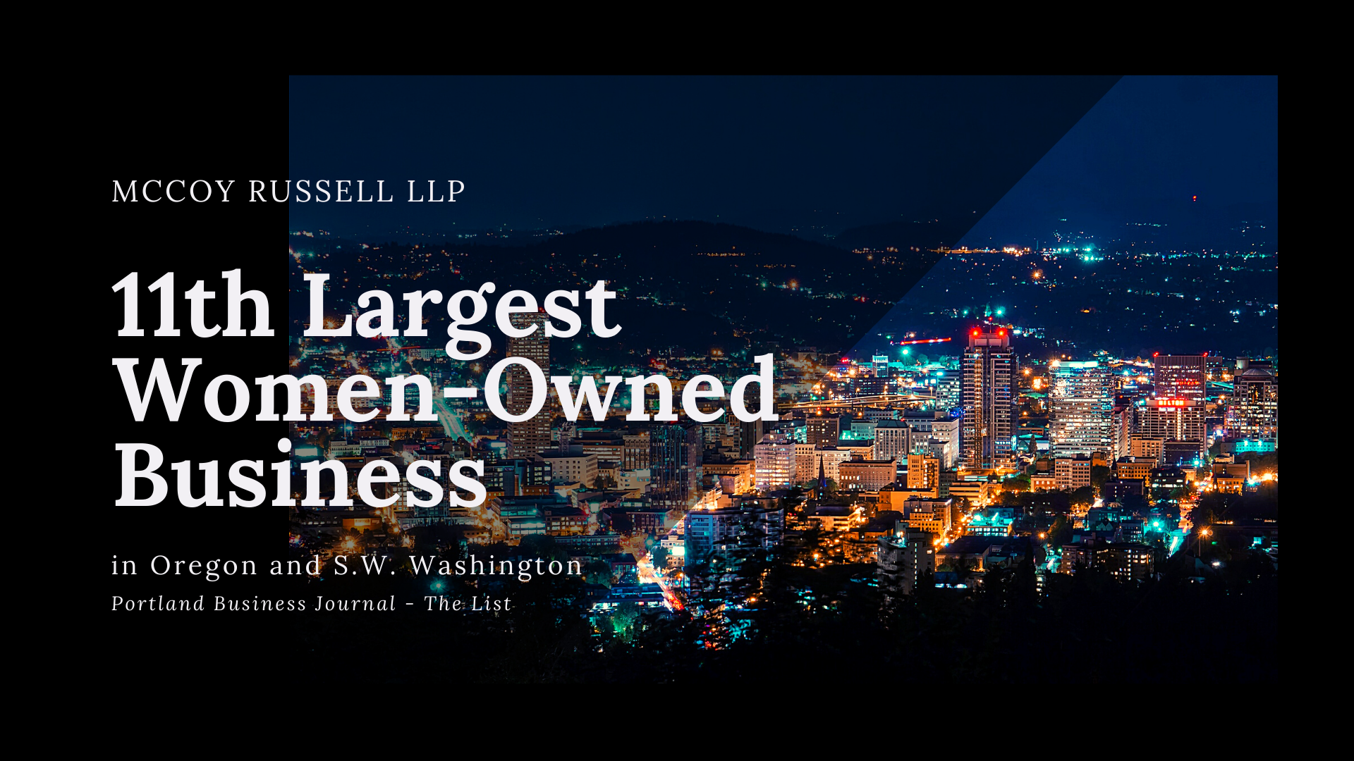 McCoy Russell One of The Largest Women-Owned Businesses in Oregon & S.W. Washington