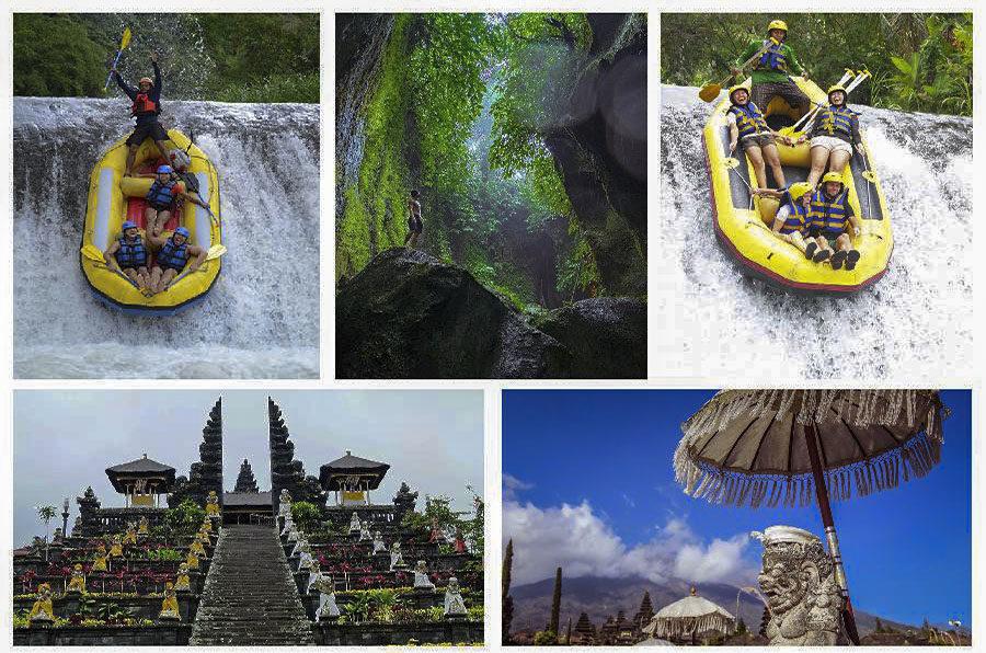 Bali Private Tour of Besakih Temple, Tukad Cepung Waterfall and Telaga Waja Rafting