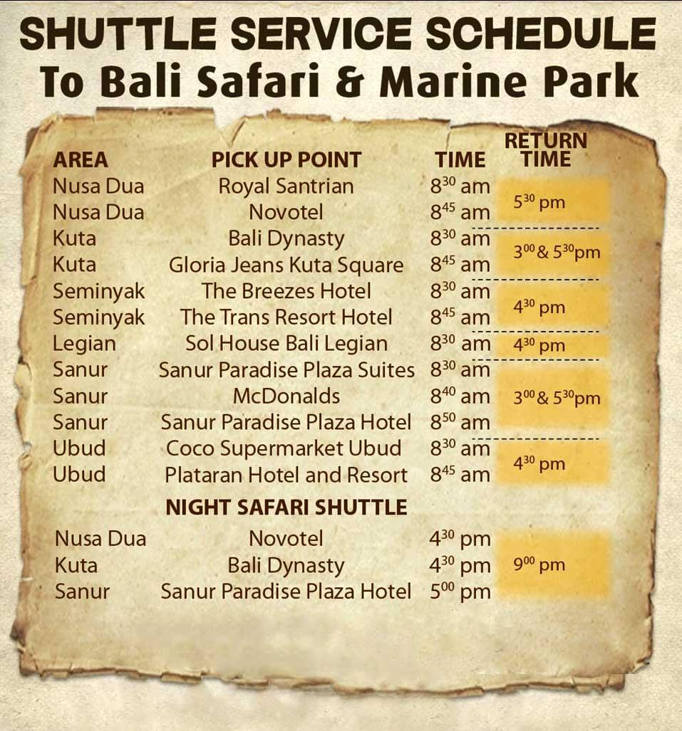 Bali Safari Free Shuttle