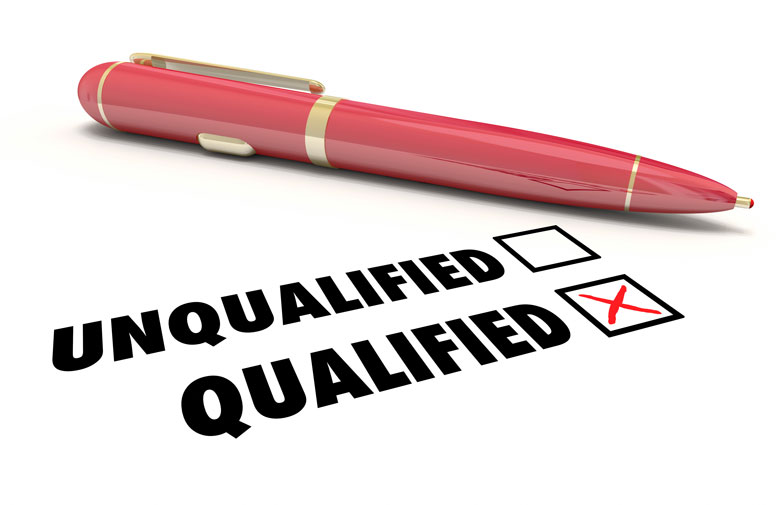 """red pen with box checked next to """"Qualified"""""""