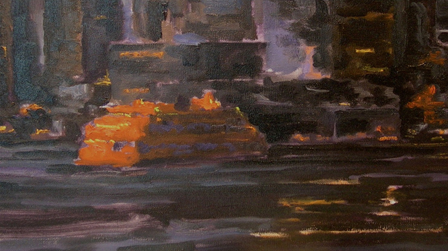 Staten Island Ferry, 9 x 16 inches, oil on canvas, 2007