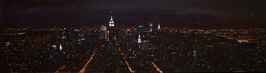 Mid-town Mid-night, 17 x 64 inches, oil on canvas, 1998