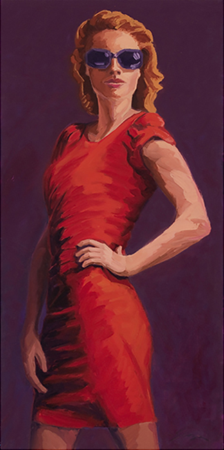 Red Dress, 24 x 12 inches, oil on canvas, 2011
