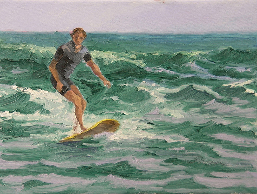 Surfing the Section, 9 x 12, oil on canvas, 2003
