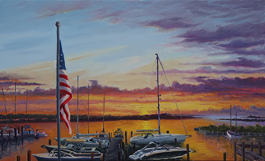 Three Mile Harbor Marina, 40 x 60 inches, oil on canvas