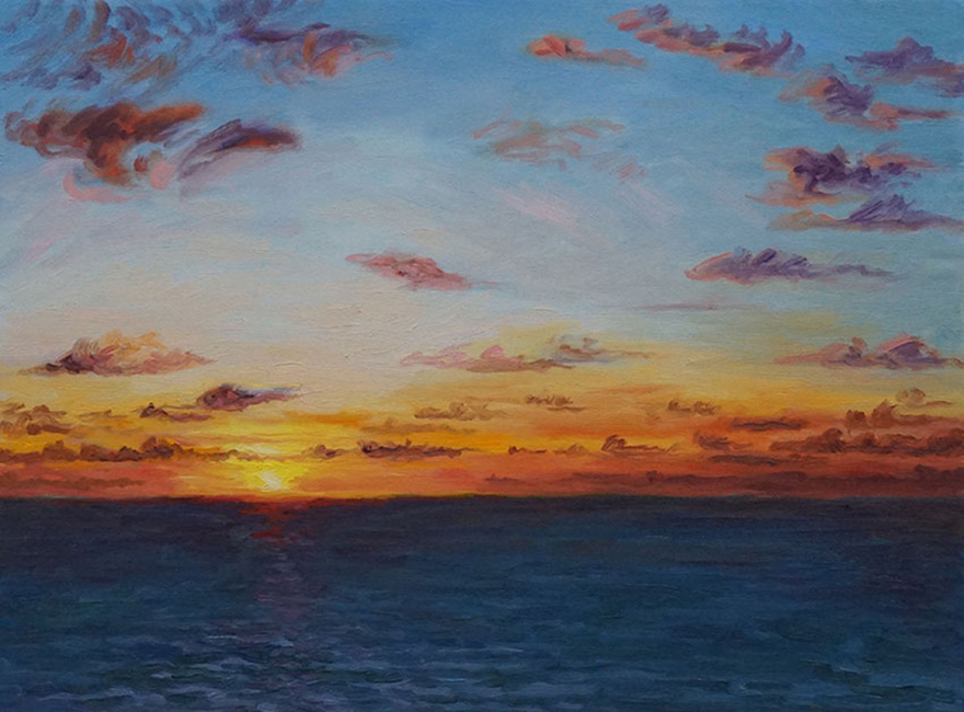Naples Sunset, 18 x 24 inches, oil on canvas, 2015