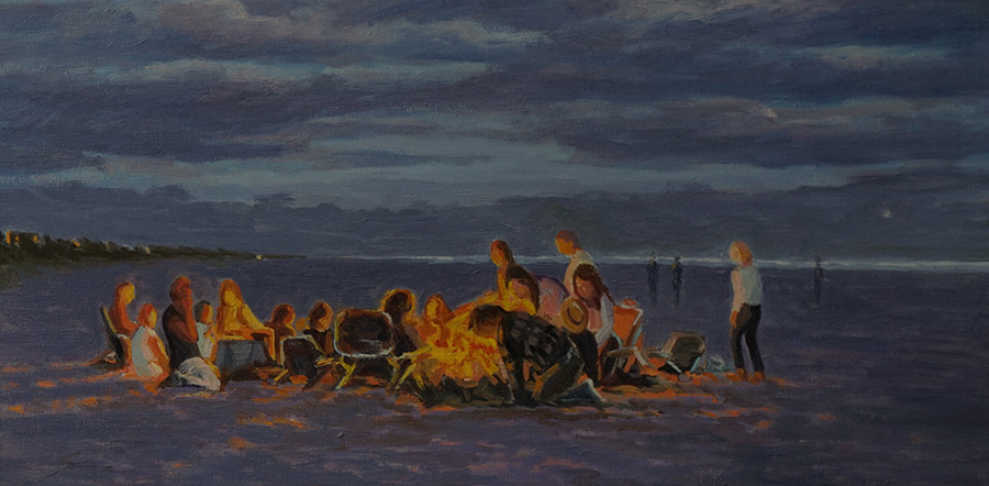 Beach Fire Setting Up, 12 x 24 inches, oil on canvas