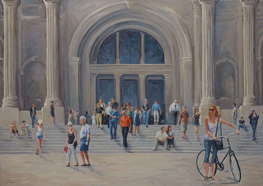 Museum Steps, 44 x 60 inches, oil on canvas, 2015