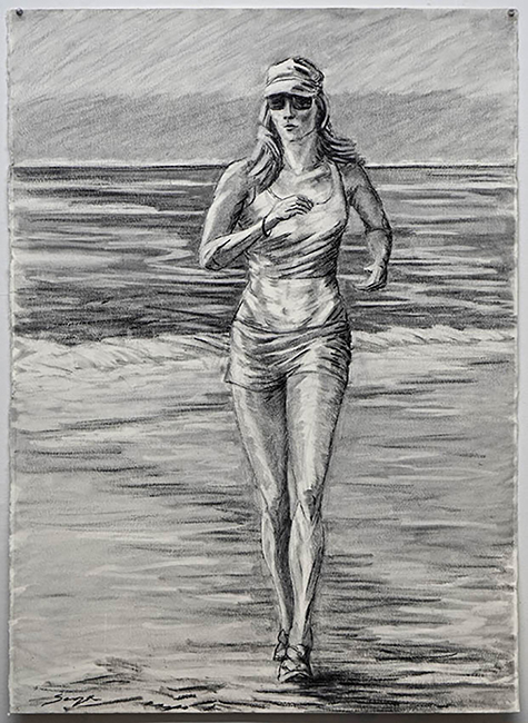 Beach Jogger, 55 x 35 inches, charcoal on paper