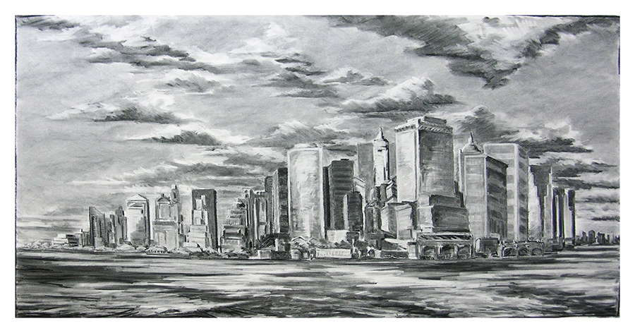 Manhattan Double Square, 48 x 96 inches, charcoal on paper