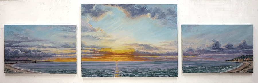 Three Mile to Blue Bay Triptych, 28 x 83 inches, oil on three canvases