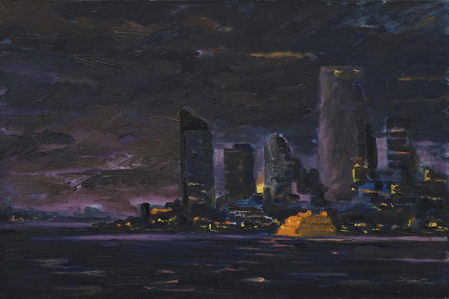 Ferry Landing at Night, 16 x 24 inches, oil on canvas, 2007