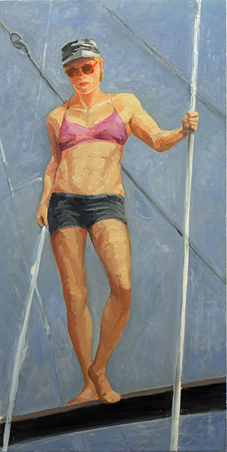 Trapeze Artist, 40 x 20 inches, oil on canvas, 2012