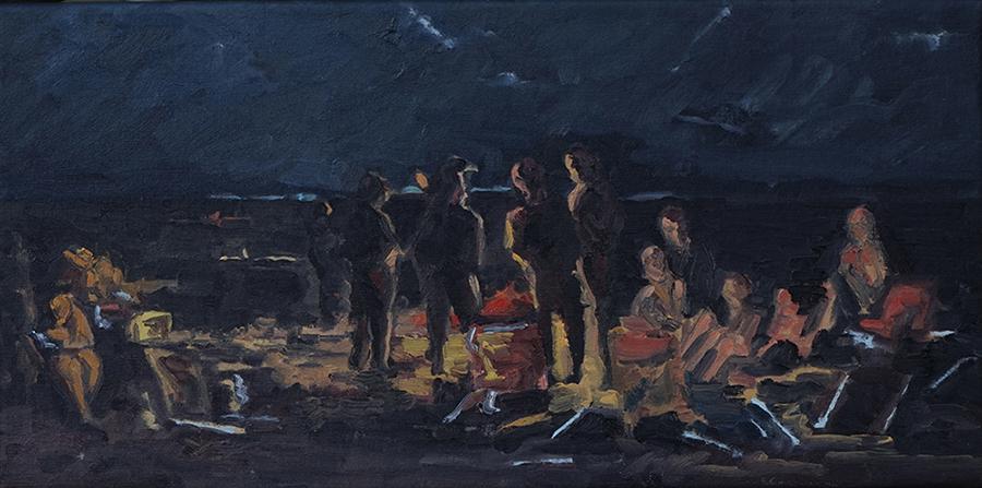 Beach Fire, 10 x 20 inches, oil on canvas