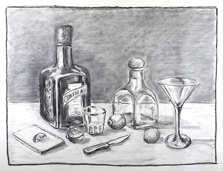 Striaght up no salt, 36 x 48 inches, charcoal on paper