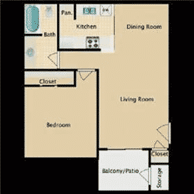 one bedroom, one bathroom, 668 square feet