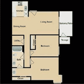 2 bedrooms, 1 bathroom, 853 Square Feet