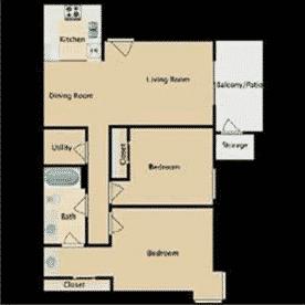 2 bedrooms, 1 bathroom, 853 Square Feet