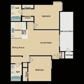 2 bedrooms, 2 bathrooms, 910 Square Feet