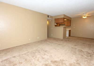Carpeted living room with view into kitchen