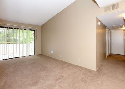 Living room with carpet and view outside