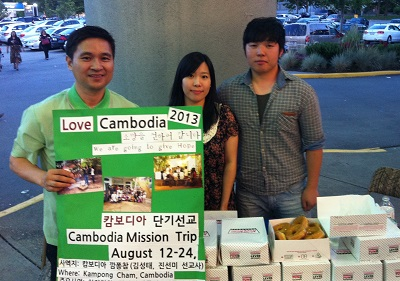 Pastor Jonathan Jeong, with two members of the Korean Baptist missions team to Cambodia.